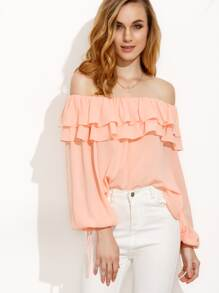 Pink Ruffle Tie Cuff Off The Shoulder Blouse