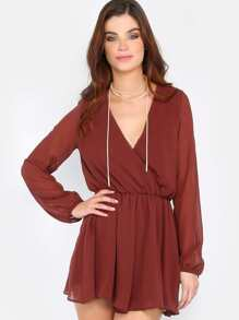 Lightweight Surplice Playsuit BURGUNDY