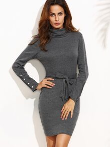 Grey Turtle Neck Front Tie Marled Sheath Dress