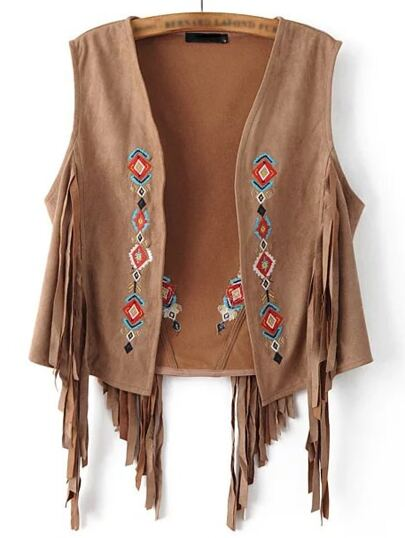 Brown Sleeveless Embroidery Tassel Cardigan Outerwear