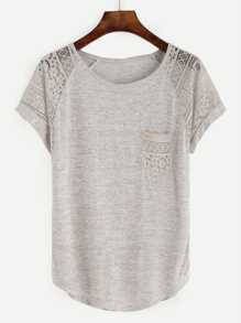 Grey Raglan Sleeve Lace Insert T-shirt