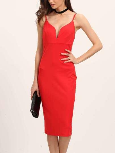 Red Sweetheart Neck Spaghetti Strap Sheath Dress