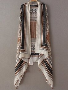 Coffee Printed Asymmetric Tassel Scarf
