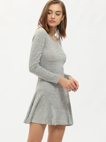 Grey Round Neck Flounce Hem Dress