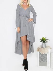 Pinstripe Hi-Lo Long Sleeve Dress NAVY