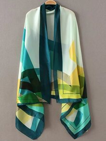 Multicolor Printed Asymmetric Scarf