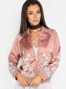 Embroidered Satin Bomber Jacket DUSTY PINK
