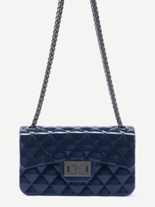 Navy Plastic Quilted Flap Bag With Chain
