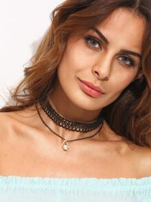 Black Lace Faux Pearl Pendant Layered Necklace