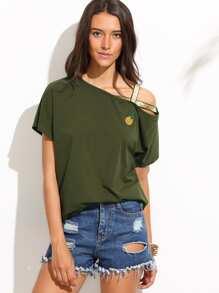 Army Green Short Sleeve Sequin T-shirt