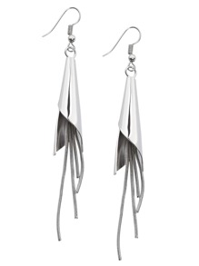 Silver Metal Tassel Earrings