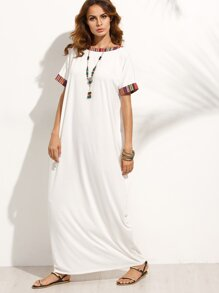 Beige Colorful Stripe Trim Short Sleeve Maxi Dress