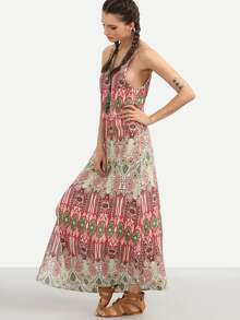 Vintage Print Spaghetti Strap Split Maxi Dress