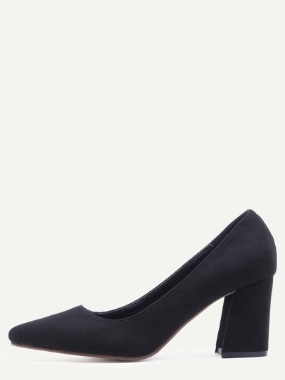 Black Pointed Toe Chunky Pumps