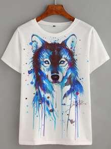 Camiseta zorro estampado - blanco