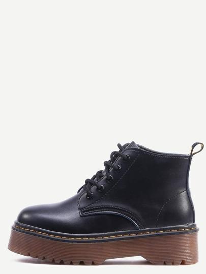 Black Lace Up PU Flatform Boots