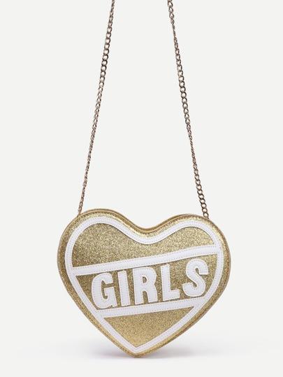 Gold Heart Shaped Letter Patch Glitter Bag