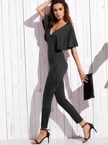 Open Back Cape Sleeve Skinny Jumpsuit