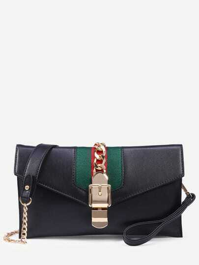 Black Chain Buckle Front Envelope Wristlet With Strap