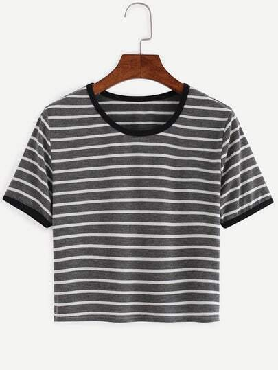 Dark Grey Striped Contrast Trim T-shirt
