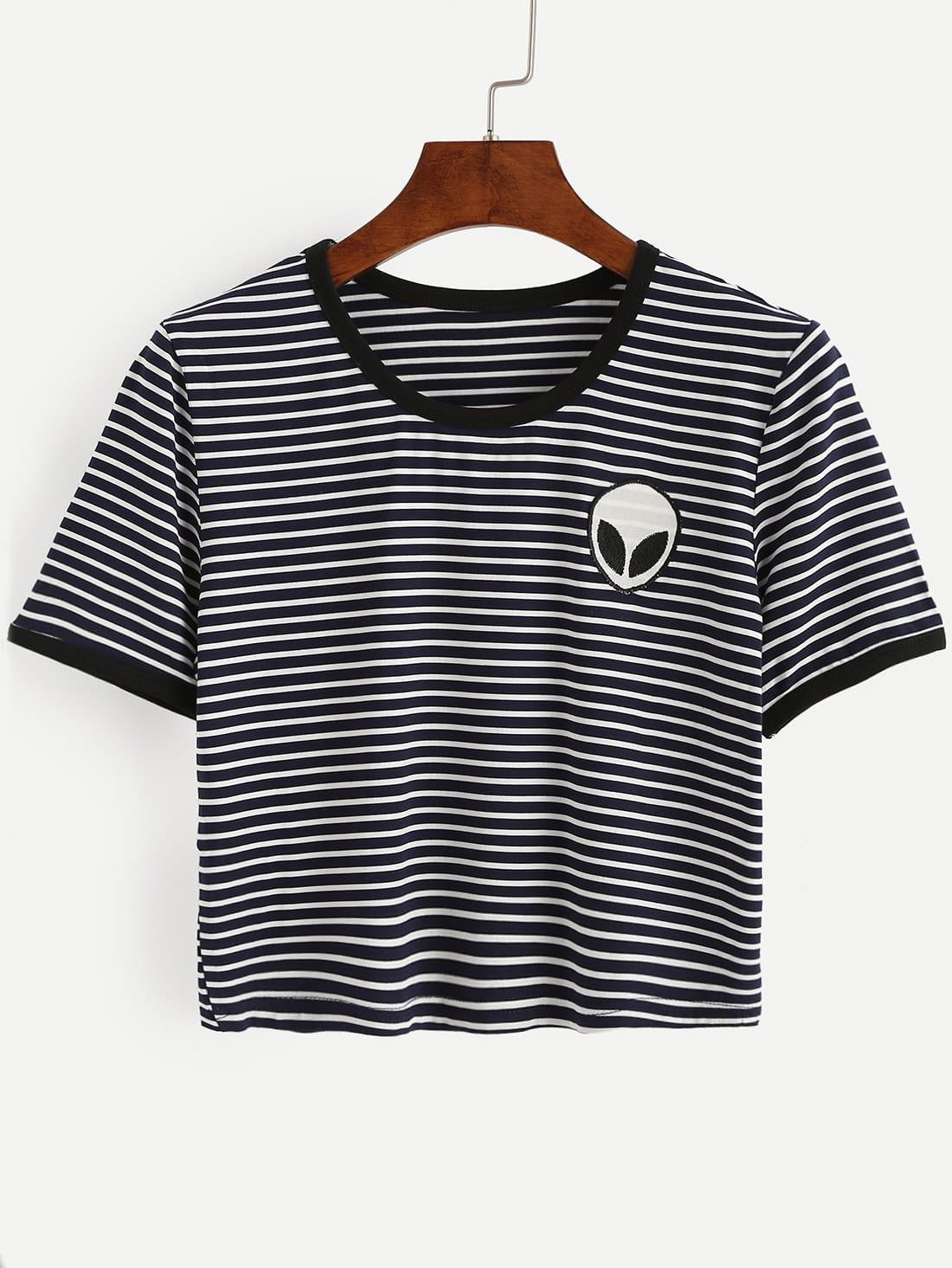 Фото Saucerman Embroidered Contrast Trim T-shirt. Купить с доставкой