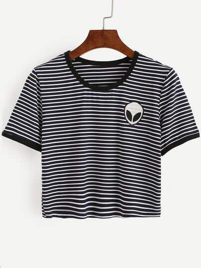 T-Shirt mit Streifen und Alien Stickereien - marineblau