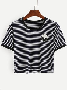 Navy Striped Saucerman Embroidered Contrast Trim T-shirt