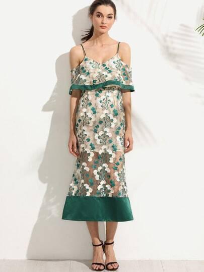 Cold Shoulder Embroidered Organza Overlay Dress