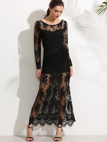 Black V Back Embroidered Lace Overlay Dress