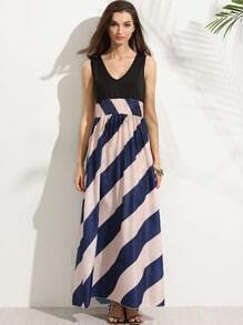 V Neck Elastic Waist Diagonal Striped Tank Dress