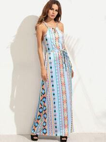 Halter Geometric Print Cut Out Self Tie Dress