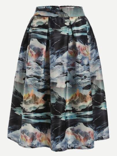 Multicolor Print Zipper Flare Skirt