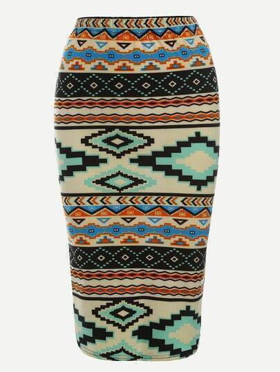 Multicolor Tribal Print Elastic Waist Pencil Skirt