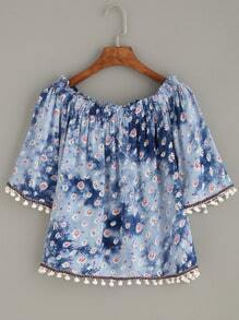 Floral Print Embroidered Tape Detail Pom Pom Shirred Top