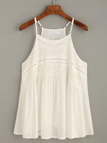 White Hollow Lace Insert Cami Top