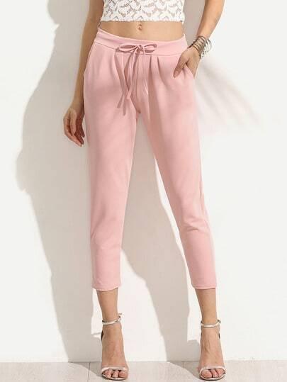 Pink Draw Cord Waist Slim Pants