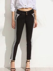 Black Contrast Zipper Slim Pants
