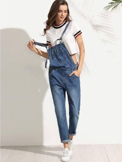 Straps Pocket Denim Overall Pants