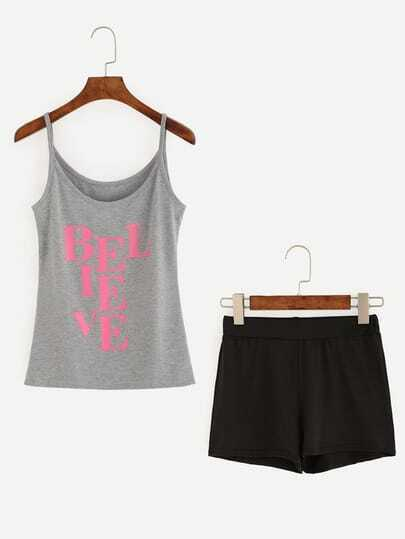 Letters Print Cami Top With Elastic Waist Shorts