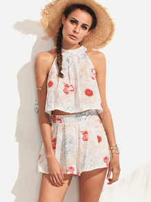 Halter Flower Print Top With Zipper Shorts