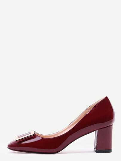 Burgundy Square Toe Metal Decorated Chunky Pumps