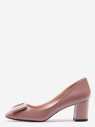 Pink Square Toe Metal Decorated Chunky Pumps