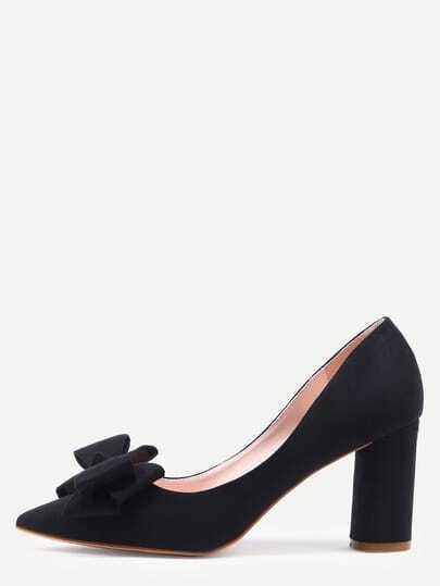 Black Pointed Toe Bow Chunky Pumps