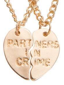 Collier fde couple avec pendentif en cœur imprimé lettres - doré