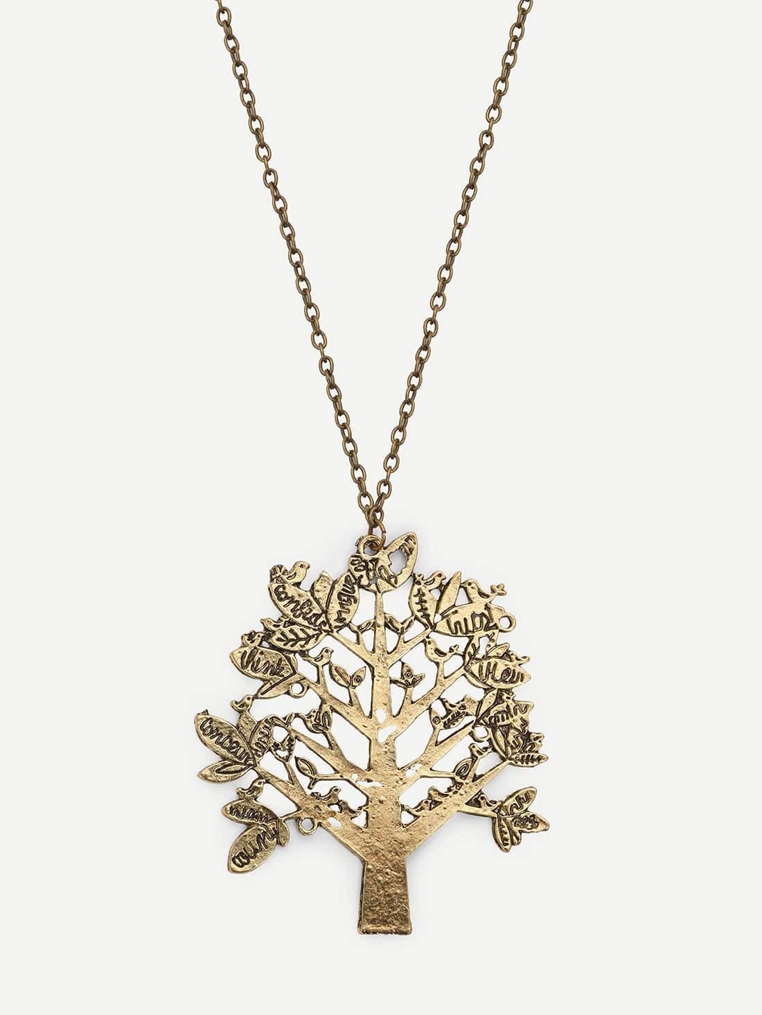Collier avec pendentif en forme d 39 arbre french shein sheinside - Arbre a collier ...