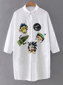 White Half Sleeve Printed Button Shirt Dress