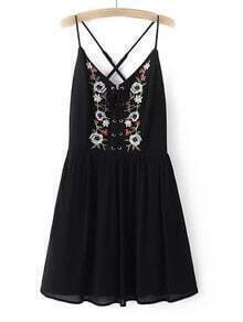 Black Spaghetti Strap Embroidery Criss Cross Dress