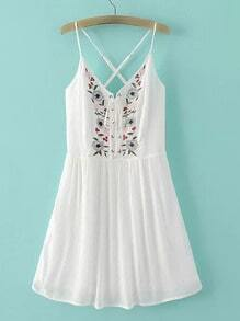 White Spaghetti Strap Embroidery Criss Cross Dress
