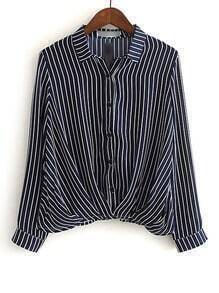 Black And White Lapel Vertical Stripe Button Blouse