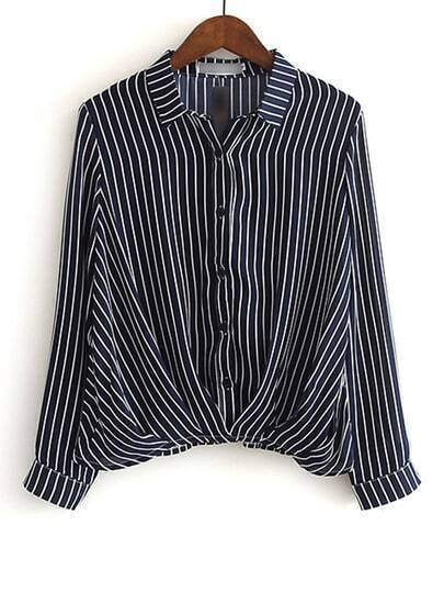Black And White Lapel Vertical Stripe Button Blouse